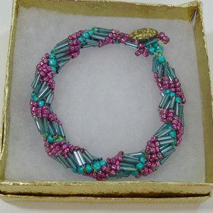 3/$25 Twisted beaded bracelet pinks turquoise
